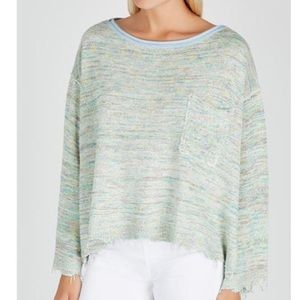 Free People Knit Pullover in Green Combo